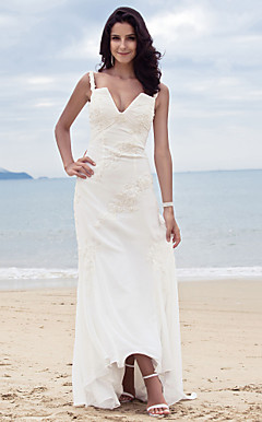 Sheath/Column Spaghetti Straps Sweep/Brush Train Chiffon Wedding Dress