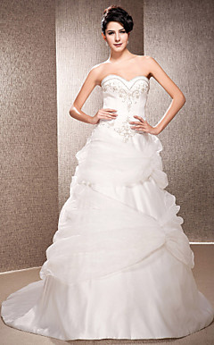 A-line Strapless Court Train Satin And Organza Wedding Dress