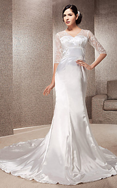 Trumpet/Mermaid V-neck Court Train Elastic Woven Satin And Lace Wedding Dress