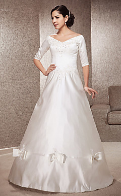 A-line Off-the-shoulder Floor-length Satin Wedding Dress