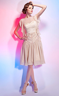 A-line Bateau Knee-length Chiffon Over Lace Cocktail Dress