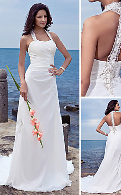 Sheath/Column Halter Court Train Chiffon Wedding Dress