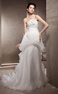 A-line Strapless Court Train Organza And Satin Wedding Dress