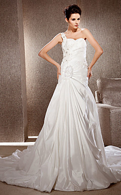 A-line One Shoulder Taffeta Wedding Dress With Chapel Train