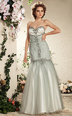 Trumpet/ Mermaid Sweetheart Floor-length Tulle Satin Wedding Dress