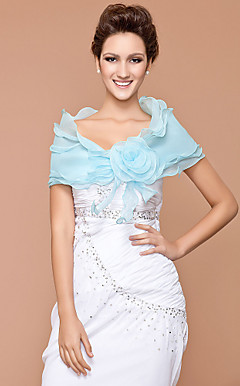 Organza With Flower Lace-up Speical Occasion / Wedding Shawl
