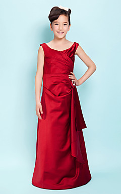 A-line Scoop Floor-length Satin Junior Bridesmaid Dress