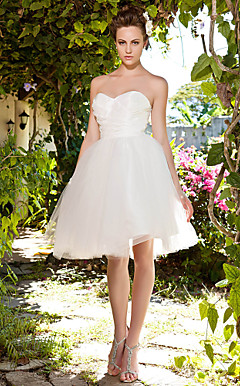 Ball Gown Strapless Sweetheart Knee-length Taffeta Tulle Wedding Dress