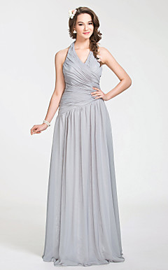 A-line Halter Floor-length Chiffon Bridesmaid Dress With Side-draping