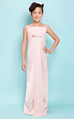 Sheath/Column Spaghetti Straps Floor-length Stretch Satin Chiffon Junior Bridesmaid Dress