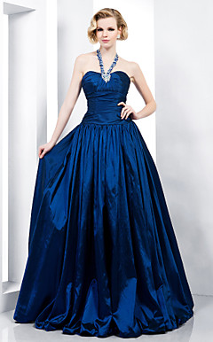 A-line Halter Floor-length Taffeta Evening Dress