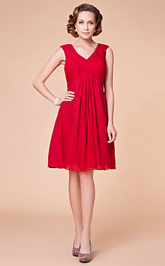 Sheath/Column V-neck Knee-length Chiffon Matte Satin Mother of the Bride Dress