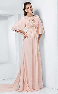 A-line Jewel Sweep/Brush Train Chiffon Evening Dress inspired by Melissa McCarthy at the 84th Oscar