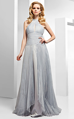 A-line High Neck Floor-length Organza Satin Evening Dress
