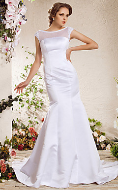 Trumpet/Mermaid Bateau Chapel Train Satin Weeding Dress