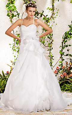 Ball Gown Spaghetti Straps Sweetheart Chapel Train Organza Wedding Dress