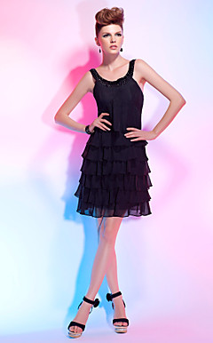 A-line Scoop Short/ Mini Chiffon Cocktail Dress