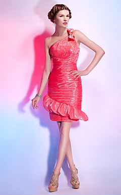 Sheath/ Column One Shoulder Knee-length Organza Over Stretch Satin Cocktail Dress