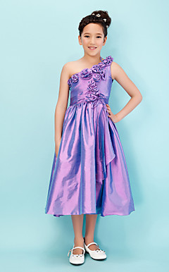 Princess One Shoulder Tea-length Taffeta Junior Bridesmaid Dress