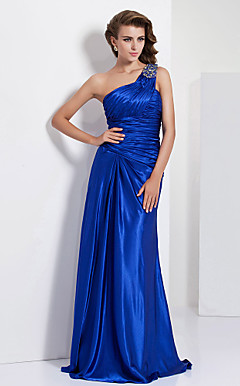 Sheath/ Column One Shoulder Floor-length Charmeuse Evening Dress