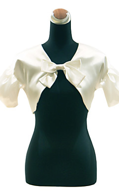 Short Sleeve Satin With Removable Bow Wedding Jacket / Special Occasion Wrap (More Colors)