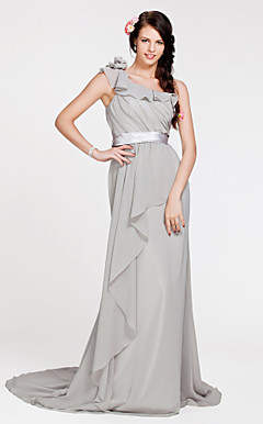 Sheath/ Column One Shoulder Sweep/ Brush Train Chiffon Bridesmaid Dress
