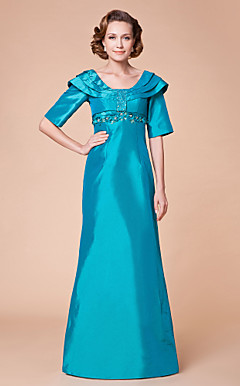 A-line Scoop Floor-length Taffeta Mother of the Bride Dress