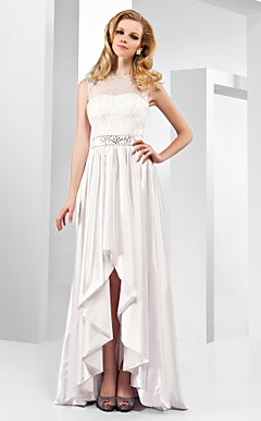 A-line Jewel Asymmetrical Stretch Satin Organza Evening Dress