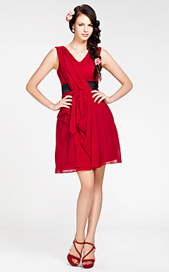 A-line V-neck Short/ Mini Chiffon Bridesmaid Dress