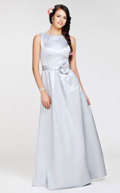 A-line Jewel Floor-length Satin Bridesmaid Dress