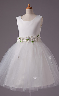 Ball Gown Scoop Knee-length Satin And Tull Flower Girl Dress