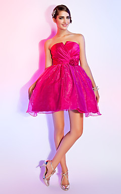 Ball Gown Strapless Short/Mini Organza Over Taffeta Cocktail Dress