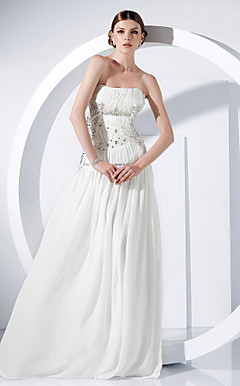 Chiffon A-line Strapless Floor-length Evening Dress inspired by Anne Hathaway at the 83rd Oscar
