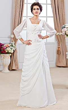 Sheath/ Column Square Floor-length Chiffon Wedding Dress