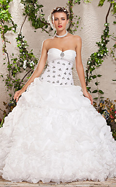 Two-In-One Ball Gown Sweetheart Strapless Floor-length Crystal Ruched Wedding Dress