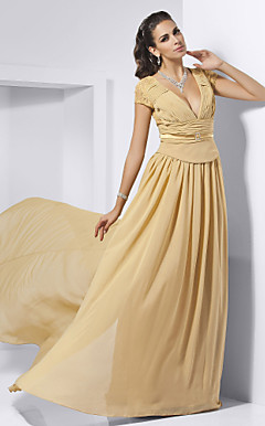 Sheath/ Column V-neck Sweep/ Brush Train Chiffon Evening Dress inspired by Rashida Jones at Oscar