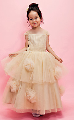 Ball Gown Square Ankle-length Tulle Flower Girl Dress