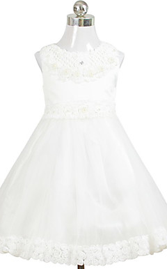 Charming A-line Scoop Tea-length Satin Organza Flower Girl Dress