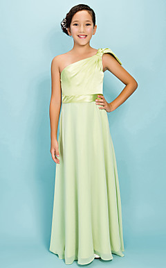 A-line One Shoulder Floor-length Chiffon Elastic Woven Satin Junior Bridesmaid Dress