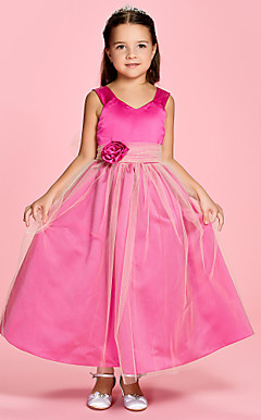 A-line Straps Ankle-length Satin Flower Girl Dress