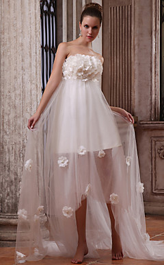 a-Linie trägerlosen asymmetrische tulle satin wedding dress