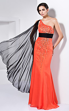 Trumpet/Mermaid One Shoulder Floor-length Watteau Train Chiffon Evening Dress