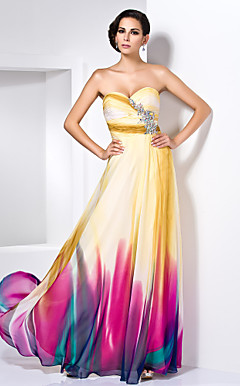 schede / column sweetheart vloer-length chiffon avondjurk met crystal detaillering