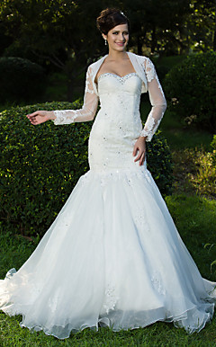 tromba / sirena Sweetheart sweep / spazzola treno organza abito da sposa con un involucro