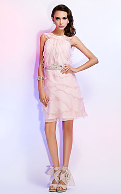 Sheath/Column Jewel Knee-length ChiffonCocktail Dress With Beading