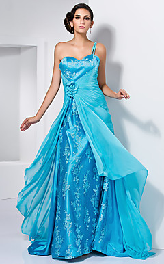 A-line One Shoulder Sweetheart Chiffon Over Stretch Satin Evening Dress