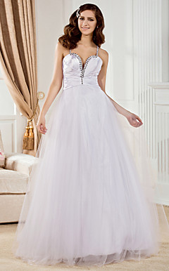 A-line Sweetheart Floor-length Tulle And Elastic Woven Satin Wedding Dress