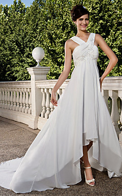 Sheath/Column V-neck Chapel Train Asymmetrical Chiffon Wedding Dress