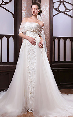 A-line Off-the-shoulder Cathedral Train Satin Tulle Wedding Dress With Veil