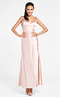 Sheath/Column V-neck Ankle-length Stretch Satin Bridesmaid Dress